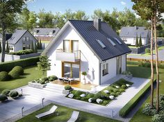 Tropical House Design, Tiny House Design, Tropical Houses, Future House, My House, Dormer Bungalow, Grey Houses, Japanese House, Cozy Living Rooms