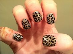 CND Shellac Nail Art - Blackpool handpainted leopard print over glitter paste of Zillionaire and Gosh Gold Nail Glitter.