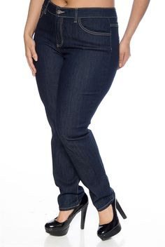 54f10900547 A Ways To Go Plus Size Five Pocket Skinny Jeans - Blue from Cello Jeans at Lucky  21 plus size denim