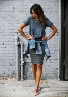 Gray and blue. Knit skirt and tshirt