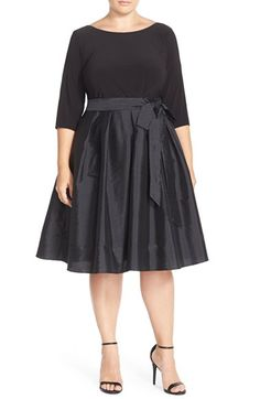 Adrianna Papell Mixed Media Fit & Flare Dress (Plus Size) available at #Nordstrom