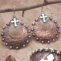 Gypsy Soule Copper Cross Earrings