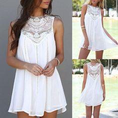 Stylish Lace Patchwork Mini Chiffon Dress