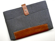 Custom handmade Stripe  Denim/ Cotton 17 laptop by VHNYBoutique