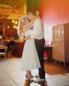 Stephanie + Jarred : wedding · This Modern Romance Wedding Coordinator, Wedding Venues, Bridal Pictures, Modern Romance, Shoe Clips, Tea Length Dresses, Green Wedding Shoes, First Dance, Got Married