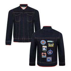 174d53aa58dc Kenzo Kids Boys Navy Denim Jacket with Orange Trimming and Logo Patch Detail