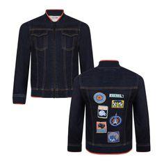 54619b774 Kenzo Kids Boys Navy Denim Jacket with Orange Trimming and Logo Patch Detail