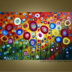 CUSTOM Dancing Poppies Original Modern Abstract by fineartsale - great painting for a girls room. I would love B to paint something like this herself! Art Floral, Painting For Kids, Art For Kids, Large Painting, Circle Painting, Wine And Canvas, Art Diy, Great Paintings, Flower Paintings