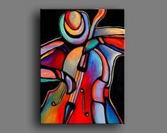 """30 """"x abstract acrylic paintings jazzman bass player Art by Mike Daneshi. Free delivery to the United States of America and CANADA - Malerei Tableau Pop Art, Cubism Art, Art N Craft, Guitar Art, Fractal Art, Art Music, Art Pictures, Abstract Art, Canvas Art"""