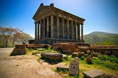 Armenia...Pagan Temple...Garni  It was probably built by king Tiridates I in the first century AD as a temple to the sun god Mihr..