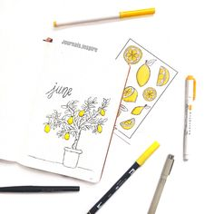 Bullet journal monthly cover page,  June cover page, lemon tree drawing.  | @journals.inspire