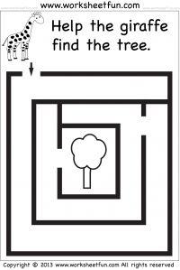 Preschool and Kindergarten – Mazes / FREE Printable Worksheets