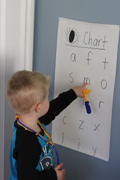 An Eye Chart! Combining dramatic play and literacy. Love these activities that blend content areas! Dramatic Play Area, Dramatic Play Centers, Alphabet Activities, Literacy Activities, Learning Letters, Community Helpers Kindergarten, Transitional Kindergarten, Pretend Play, Role Play