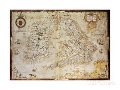 Old Map Of British Islands. Created By Laurence Nowell, Published In England, 1564 Prints by marzolino at AllPosters.com
