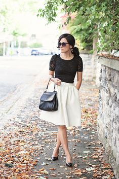 Vintage inspired style with white full skirt