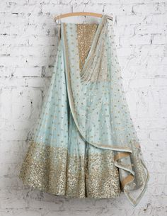 SwatiManish Lehengas SMF LEH 158 17 Frozen blue lehenga and dupatta with gold sequin blouse