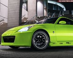"JC's lime green wrapped 350Z on a ""square"" set of Forgeline GZ3R wheels finished with Gloss Black centers, Polished outers, and exposed hardware. See more at: http://www.forgeline.com/customer_gallery_view.php?cvk=1369  #Forgeline #GZ3R #notjustanotherprettywheel #madeinUSA #Nissan #350Z"