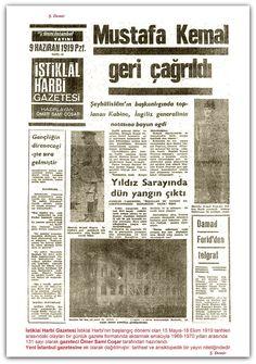 09.06.1919 İstiklal Harbi Gazetesi İstiklal Harbinin başlangıç dönemi olan 15 Mayıs-18 Ekim 1919 tarihleri arasındaki olayları bir günlük gazete formatında aktarmak amacıyla 1969-1970 yılları arasında 131 sayı olarak gazeteci Ömer Sami Coşar tarafından hazırlandı. Yeni İstanbul gazetesine ek olarak dağıtılmıştır. tarihsel ve ansiklopedik bir yayın niteliğindedir.