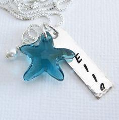 Personalized Starfish Necklace  Swarovski by PatriciaAnnJewelry  - for my beautiful niece!