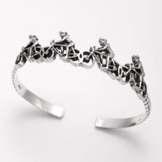 Sterling Silver Road Bike Race Bangle Bracelet - World of Cycling - The Internet Bicycle Store