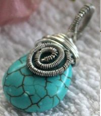 This wire jewelry tutorial shows pictorial step by step guides on how to make a capped Teardrop Turquoise pendant.