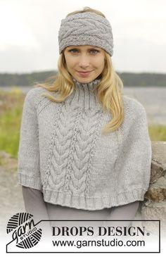 """Poncho e fita de cabelo DROPS com tranças, tricotado de cima para baixo ou em top down, em """"Alaska"""". Do S ao XXXL. ~ DROPS Design"""