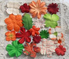 Prima Paper Flowers Orange Red White Green  by LayoutsFromTheHeart