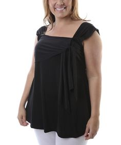 Another great find on #zulily! Black Square Neck Top - Plus #zulilyfinds