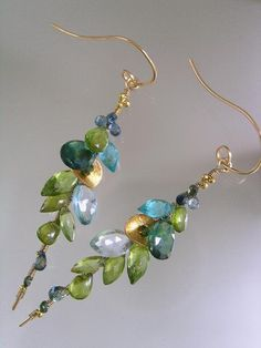 Green and some Turquoise...Apatite Peridot Sapphire Encrusted Signature Original Gold Filled Stem Vine Earrings. $178.00, via Etsy.