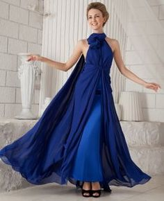 Watteau Train Halter Ruched Layers Chiffon Blue Pageant Gowns