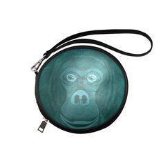 Forest Green Orangutan Round Makeup Bag (Model 1625)