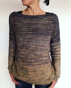 The Weekender by Andrea Mowry, knitted by geraknits | malabrigo Rios in Niebla and Cloud Sunshine