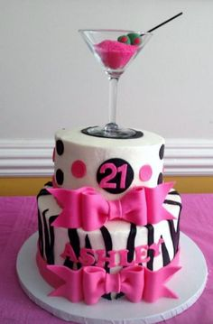 Two tier women's birthday cake with zebra stripes pink bows and martini glass on top. Adult Birthday Cakes, Birthday Cakes For Women, Birthday Cupcakes, 21 Birthday, Birthday Recipes, Birthday Wishes, Happy Birthday, Birthday Parties, Draculaura