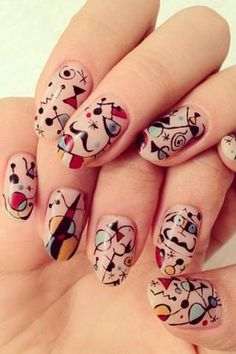Miro-esque artful nails for the surrealist. Love!