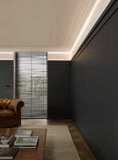 Great ceiling finish with our Steps collection! on the wall on the ceiling with a touch of indirect lighting combined with our mini High Line skirting: Cove Lighting, Indirect Lighting, Coving, Architrave, Cornice Design, Ceiling Finishes, Orac Decor, Dado Rail, Plafond Design