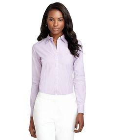 Non-Iron Classic Fit Framed Dash Stripe Dress Shirt - Brooks Brothers