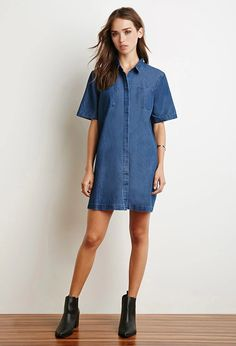 Forever 21 is the authority on fashion & the go-to retailer for the latest trends, styles & the hottest deals. Shop dresses, tops, tees, leggings & more! Collared Shirt Dress, Denim Shirt Dress, Denim Dresses, Fashion Wear, Denim Fashion, White Denim Dress, Short Long Dresses, Dress To Impress, Clothes For Women