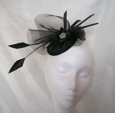 Black Arrow Feather Crinoline Swirl & Jewel Fascinator Mini Hat - Wedding