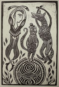 Pockets the cat at the Circus Hand carved & hand printed lino cut by Anouk de Groot (Anouk & the Pencils)