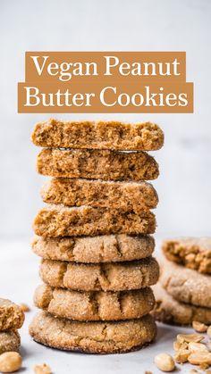 Vegan Protein Cookies, Easy Vegan Cookies, Vegan Gluten Free Cookies, Vegan Peanut Butter Cookies, Gluten Free Peanut Butter, Healthy Cookies, Vegan Banana Cookies, Vegan Oatmeal Raisin Cookies, Vegan Chocolate Chip Cookies