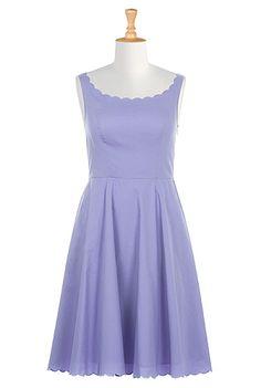 I <3 this Scallop trim cotton poplin dress from eShakti