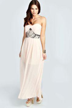Emma Embellished Waist Pleated Woven Maxi Dress at boohoo.com