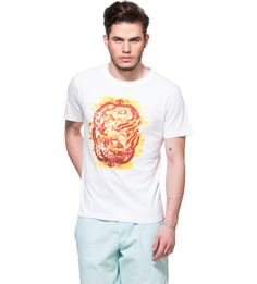 Aries White Graphic T-shirt For that effortlessly stylish look, put on this white tee that comes with a cool print at front. White T-shirt. Half sleeves. Ribbed round neck. Aries graphic print at front. You can club this tee with a pair of chino shorts or blue distressed denims and sneakers.