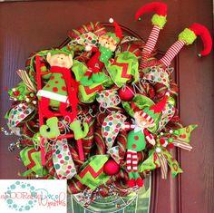 Whimsical Christmas Elf Wreath by aDOORableDecoWreaths on Etsy