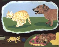 "This painting is entitled ""Dachshund Dream"".  Acrylic on wood board 8x10 -  Dogs cats Wakeland Costlow Art"