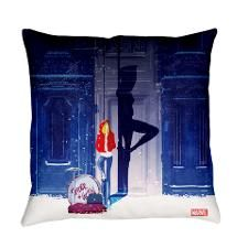 Spider-Gwen Street Shadow Everyday Pillow. In #SpiderGwen, #MaryJane and #GwenStacy start a rock band called #TheMaryJanes. This design features Gwen Stacy leaning against a wall, with her drums for The Mary Janes next to her and the silhouette of Spider-Gwen behind her.
