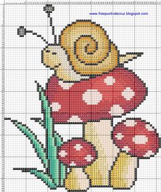 Snail on Colorful Mushrooms Free Cross Stitch Pattern Chart