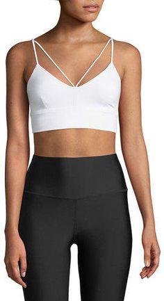 dc3feb360f Alo Yoga Glisten V-Neck Strappy Sports Bra. Yoga BraAthletic WearFitness ...