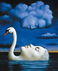 Swan & woman as one & man in clouds surreal art