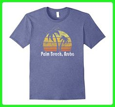 Mens Retro Palm Beach Aruba T-Shirt Palm Beach Shirt 2XL Heather Blue - Retro shirts (*Amazon Partner-Link)